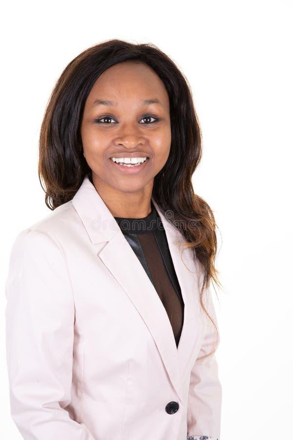 Красивая усмехаясь Афро-американская бизнес-леди стоковая фотография rf