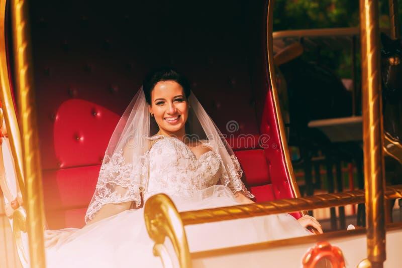 Красивая усмехаясь невеста в экипаже стоковые фото