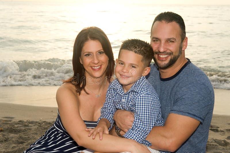 Красивая усмехаясь семья брюнет стоковое фото