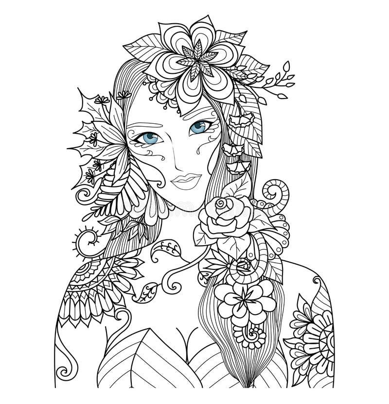 Красивая фея леса для книжка-раскраски для взрослого иллюстрация вектора
