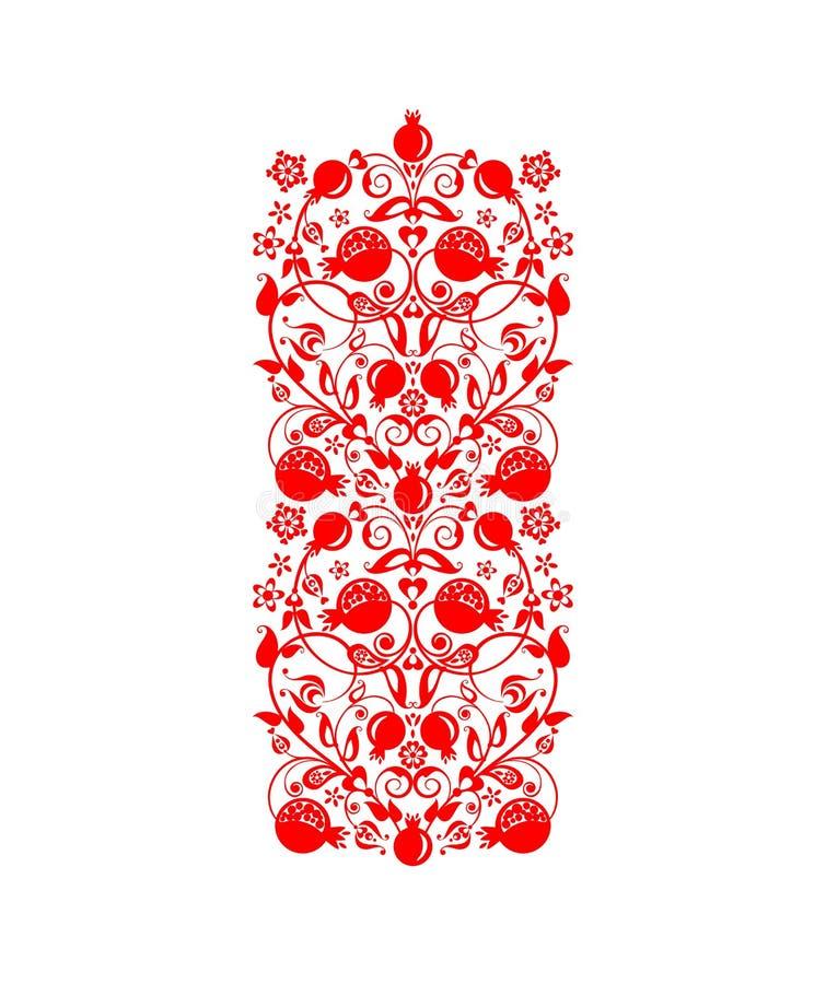 Красивая флористическая этническая красная декоративная орнаментальная граница с абстрактными деревом, плодом и цветками гранатов бесплатная иллюстрация