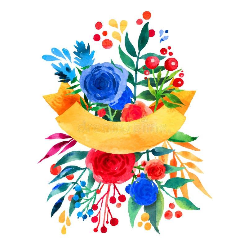 Красивая флористическая карточка приглашения иллюстрации поздравительной открытки яркая для wedding, день рождения и праздник и м иллюстрация вектора