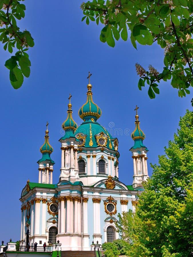 Красивая церковь Andreevskaya при куполы бирюзы украшенные с золотом, около цветя каштанов на предпосылке стоковое фото