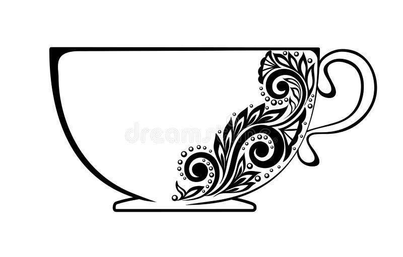 Красивая чашка, украшенная с черно-белым flor иллюстрация штока