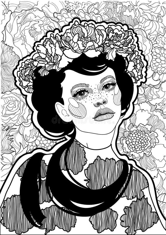 красивая черно-белая девушка с флористическим венком на ее голове иллюстрация вектора
