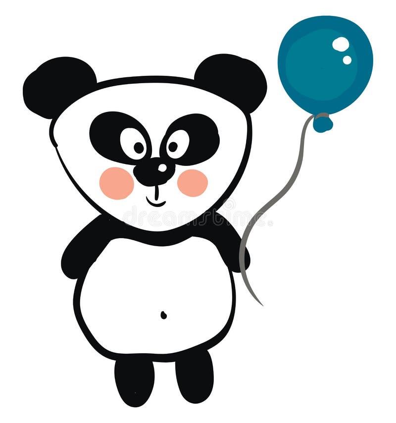 Красивая черно-белая панда с изображением вектора синего шара иллюстрация вектора