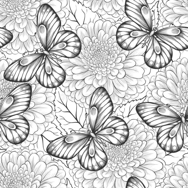 Красивая черно-белая безшовная картина с цветками и бабочками иллюстрация штока