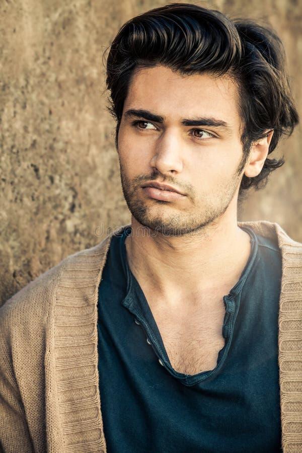 Красивая шикарная модель молодого человека, итальянская прическа стоковые фотографии rf