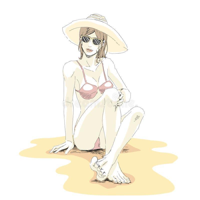 Красивая элегантная девушка в бикини, шляпе и солнечных очках сидит на san иллюстрация вектора