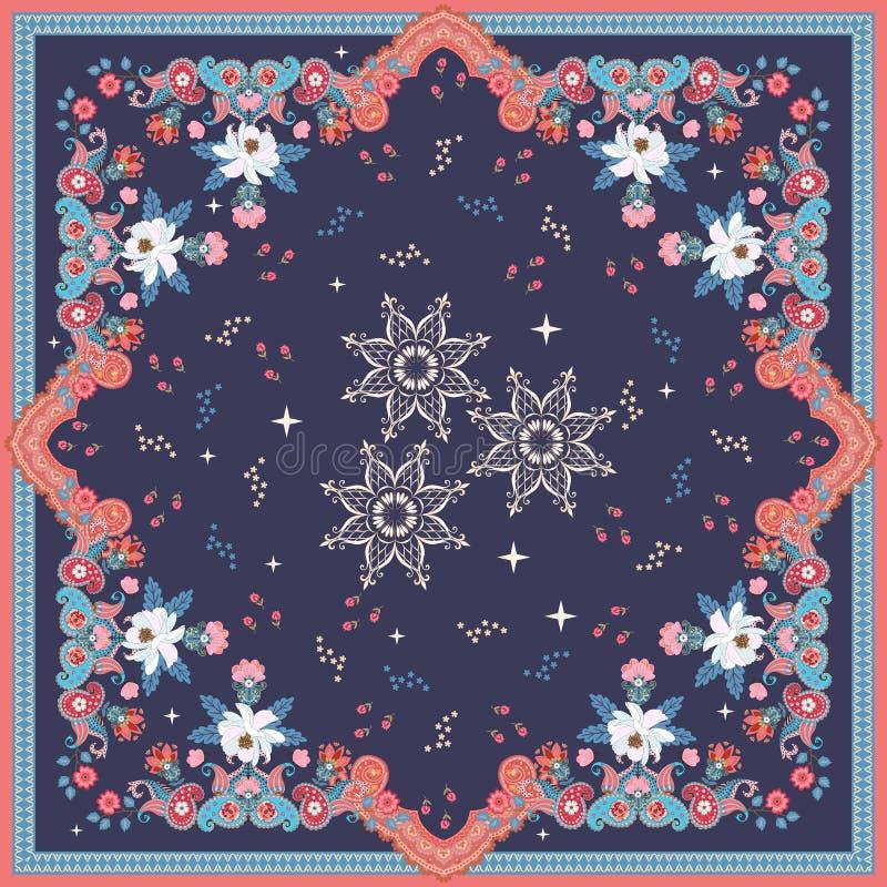 Красивая этническая шаль с орнаментом Пейсли, мандалами - снежинками, маленькими звездами и цветками сада на темно-синей предпосы иллюстрация вектора