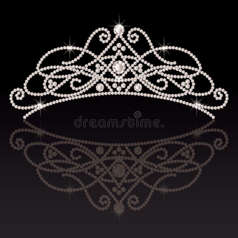 Красивая элегантная роскошная женственная тиара иллюстрация вектора