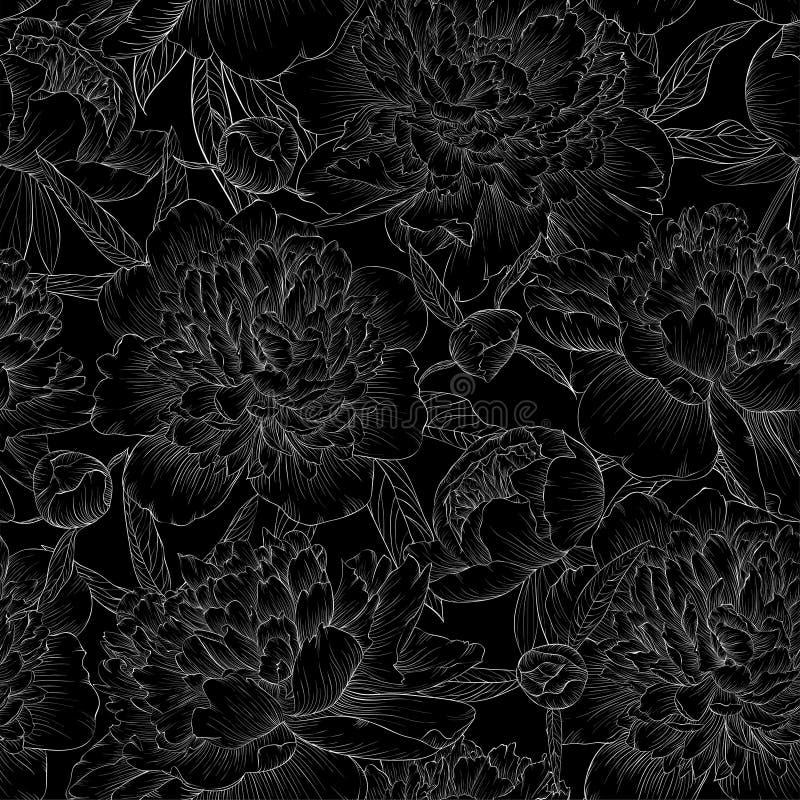 Красивая monochrome черно-белая безшовная предпосылка пионы с листьями и бутоном иллюстрация штока