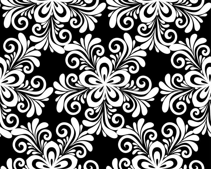 Красивая monochrome черно-белая флористическая безшовная картина иллюстрация вектора