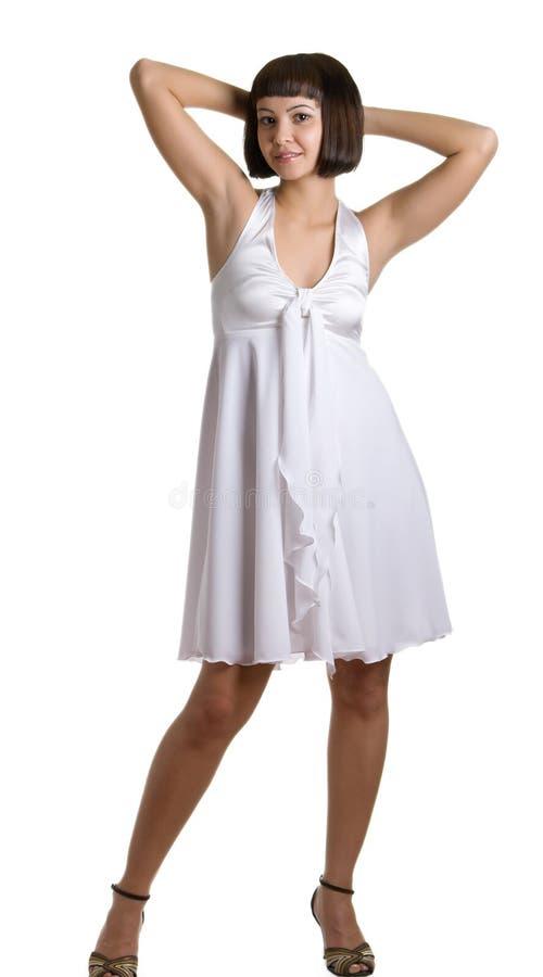 красивейшая белизна девушки платья стоковые изображения