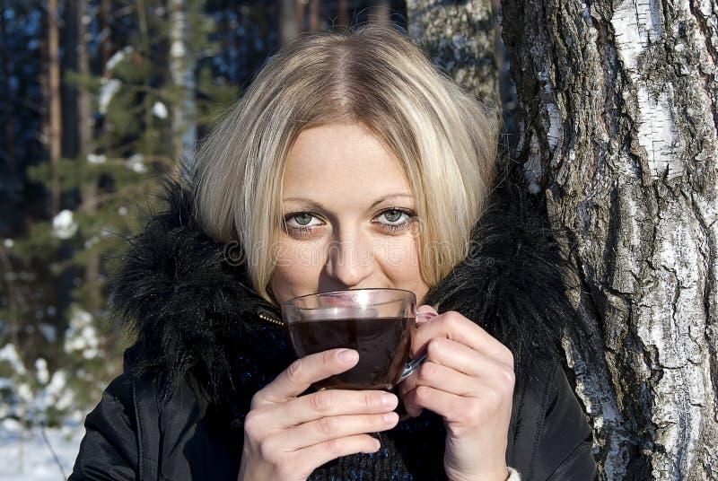 красивейшая белокурая выпивая зима чая девушки стоковая фотография