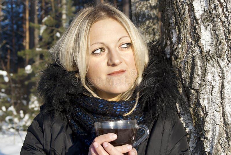 красивейшая выпивая зима чая девушки стоковые изображения rf