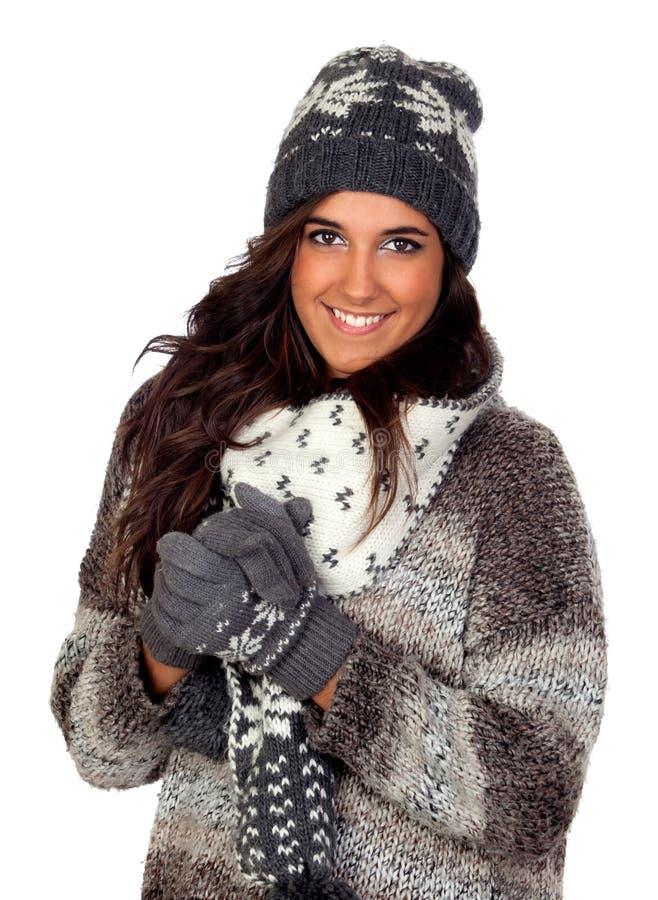 Красивейшая девушка одетьла в одежде зимы стоковые фотографии rf
