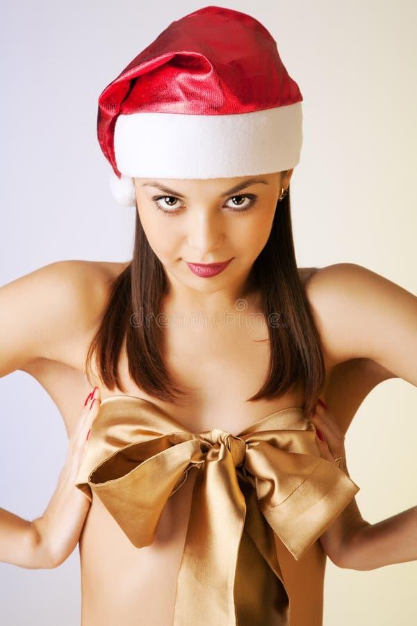 красивейшая девушка рождества брюнет стоковые изображения