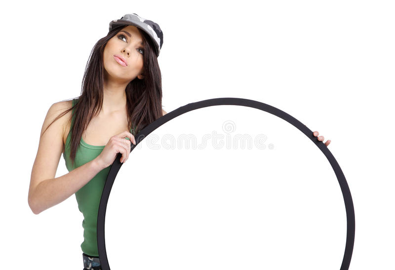 красивейшая доски девушка emply держа сексуальную белизну стоковые фото