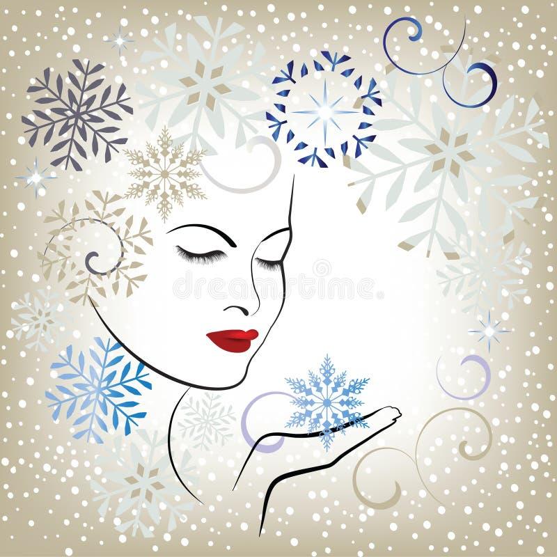 красивейшая дуя женщина снежинок стилизованная иллюстрация вектора