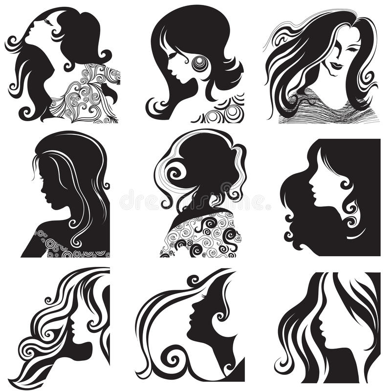 красивейшая женщина вектора силуэта комплекта иллюстрация вектора