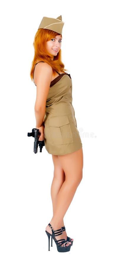 Красивейшая женщина в военной форме стоковое изображение rf