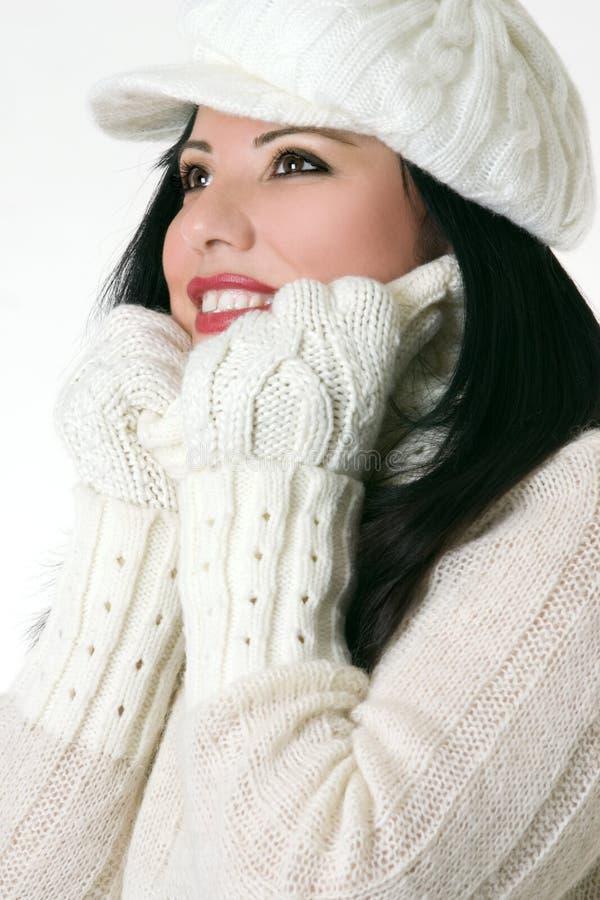 красивейшая женщина зимы одежд стоковые изображения rf