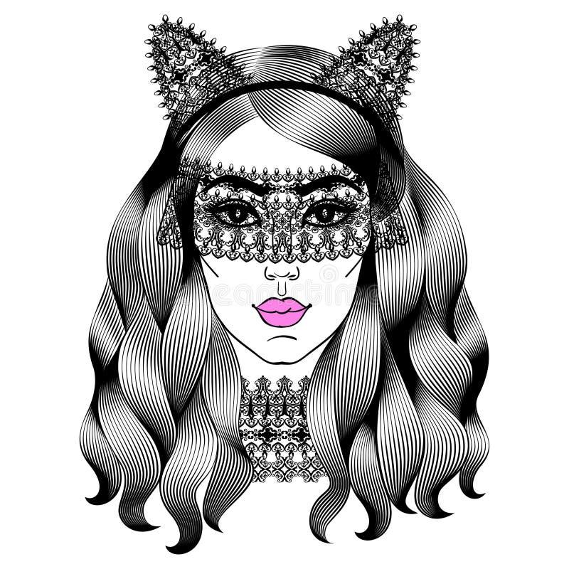красивейшая женщина маски шнурка Девушка с ушами кота фасонируйте девушку иллюстрация штока