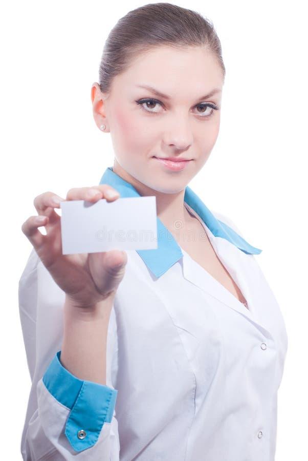 Красивейшая женщина медицинской науки с визитной карточкой стоковое изображение