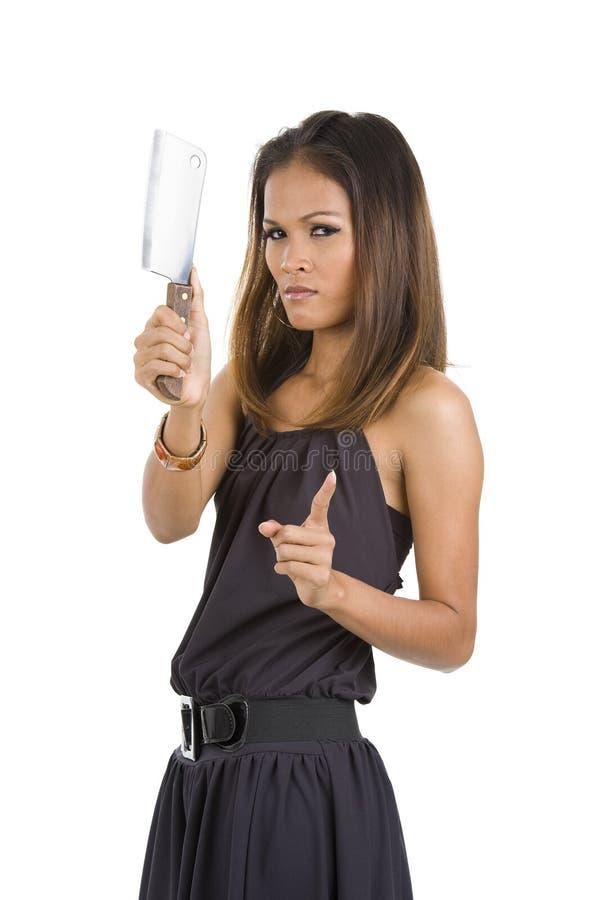 красивейшая женщина ножа стоковые изображения rf