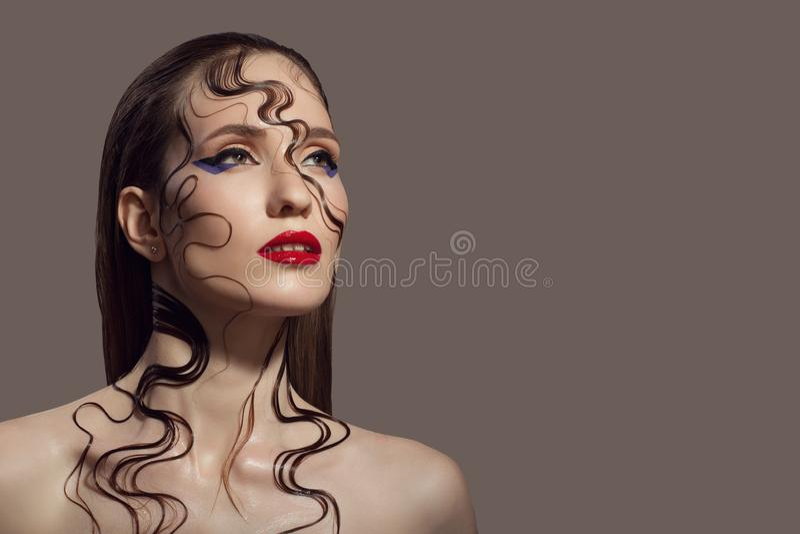 красивейшая женщина портрета Состав фантазии стоковые фотографии rf