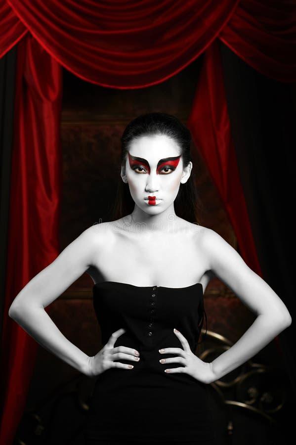 красивейшая женщина портрета творческо составьте стоковое изображение rf