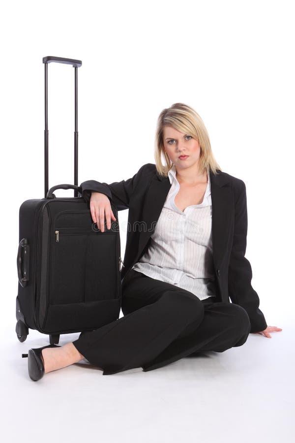 красивейшая женщина путника чемодана дела стоковые изображения