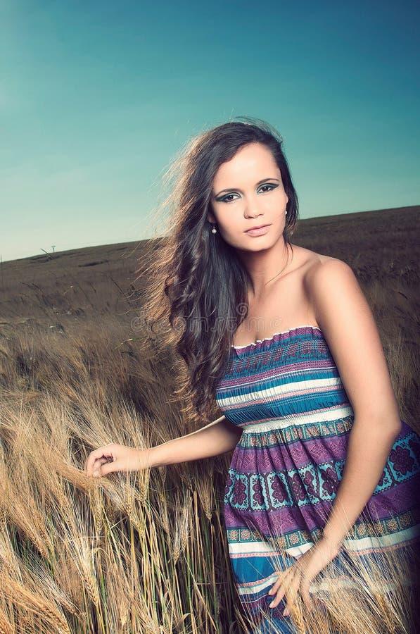 красивейшая женщина пшеницы поля стоковое изображение