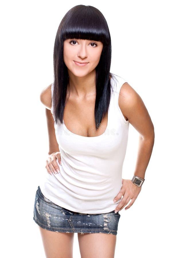 красивейшая женщина рубашки t белая стоковые изображения rf