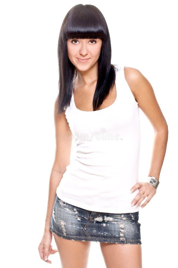 красивейшая женщина рубашки t белая стоковое фото rf