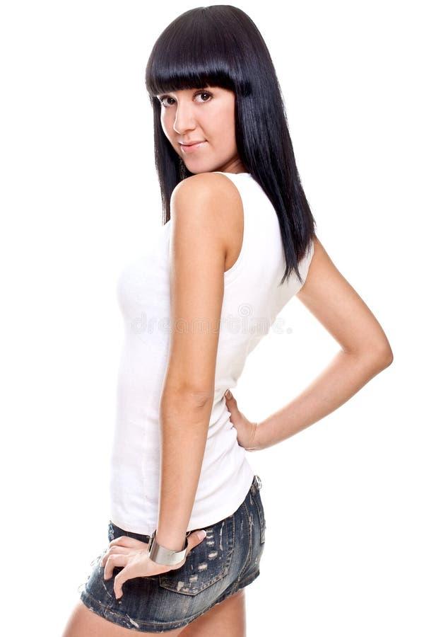 красивейшая женщина рубашки t белая стоковые изображения