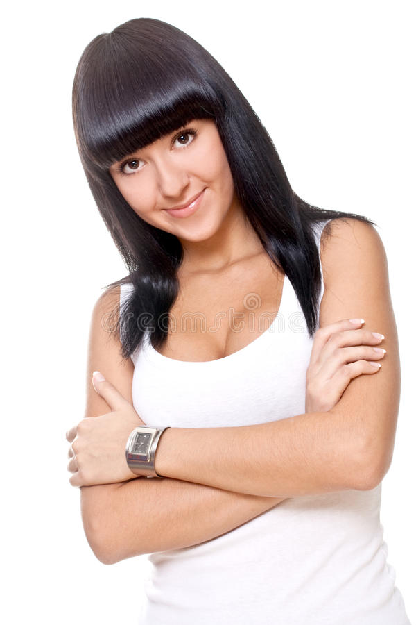 красивейшая женщина рубашки t белая стоковая фотография