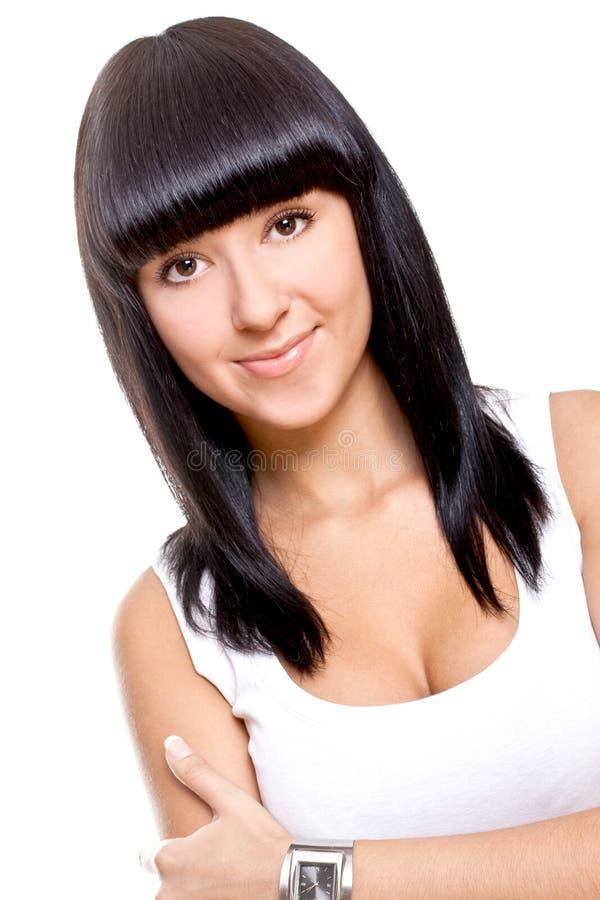 красивейшая женщина рубашки t белая стоковое изображение