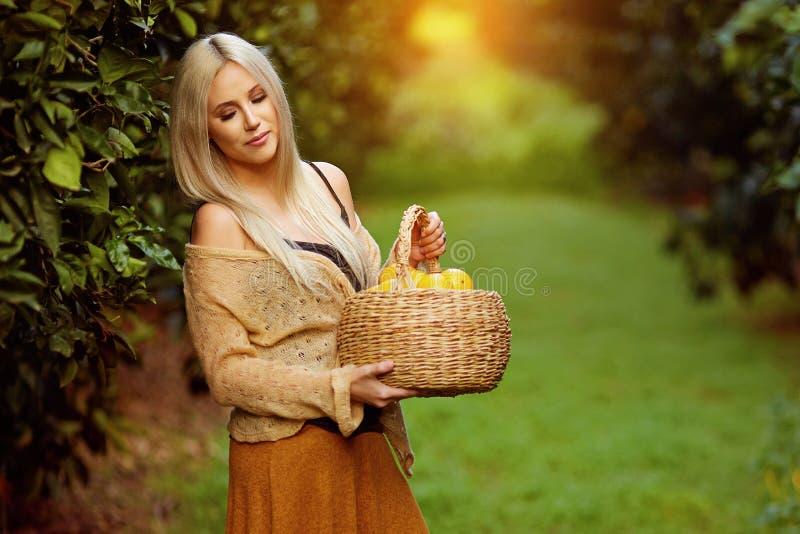 красивейшая женщина с корзиной плодоовощ стоковые фотографии rf