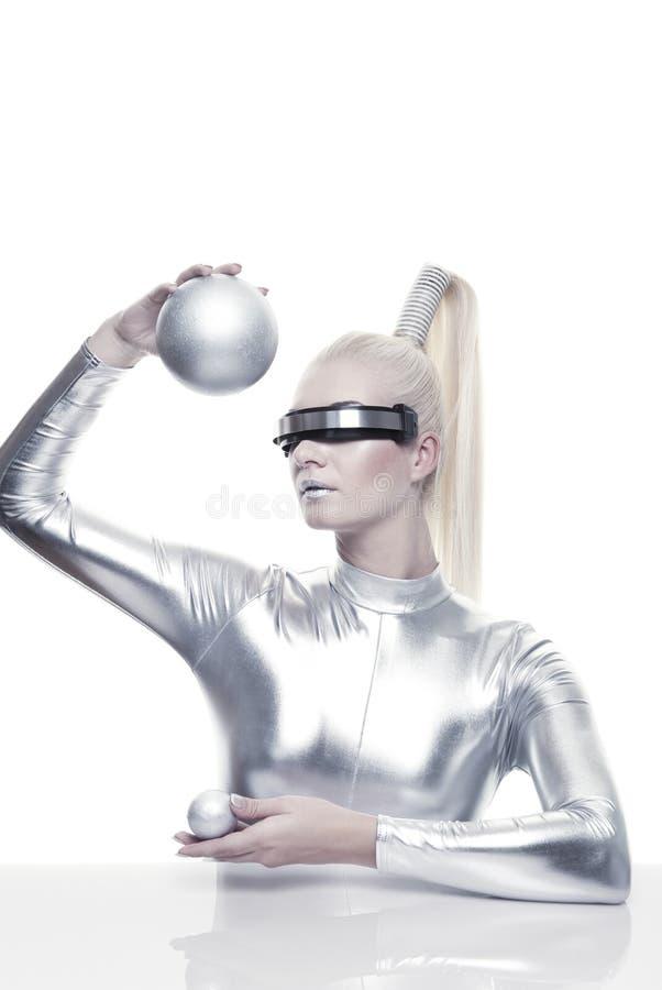 красивейшая женщина cyber стоковое изображение