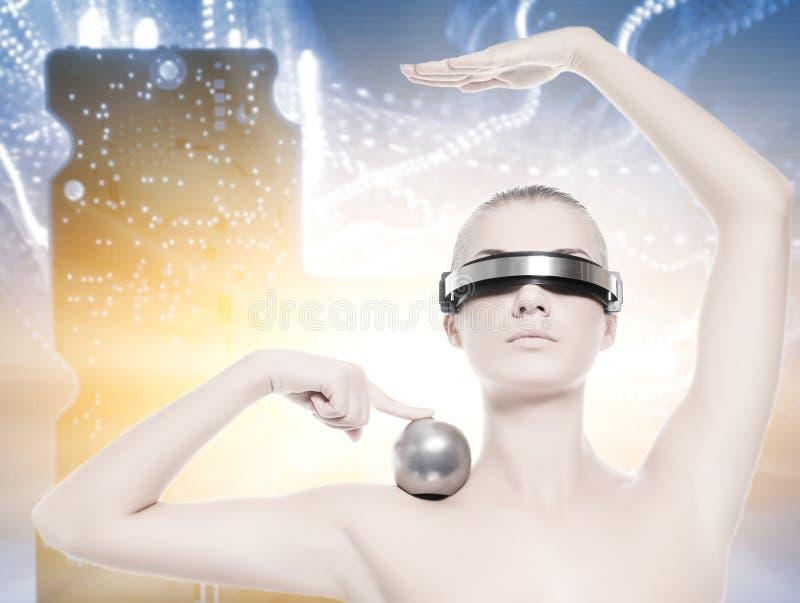 красивейшая женщина cyber стоковые фото