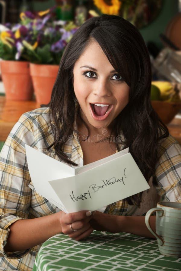 красивейшая женщина latina поздравительой открытки ко дню рождения стоковая фотография