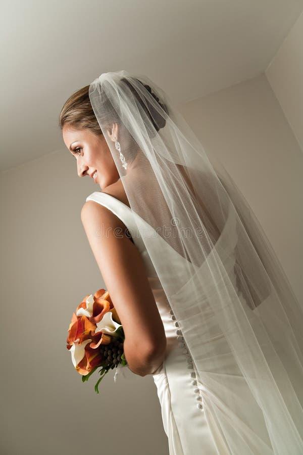красивейшая задняя невеста ее показывая вуаль стоковые фото