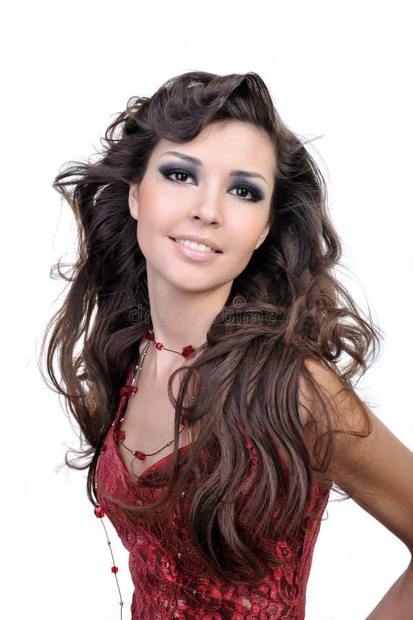 красивейшая коричневая женщина волос стоковое изображение rf