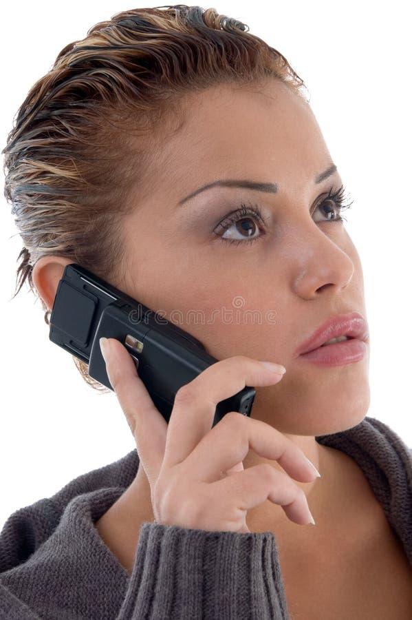 красивейшая многодельная женщина телефона стоковая фотография rf