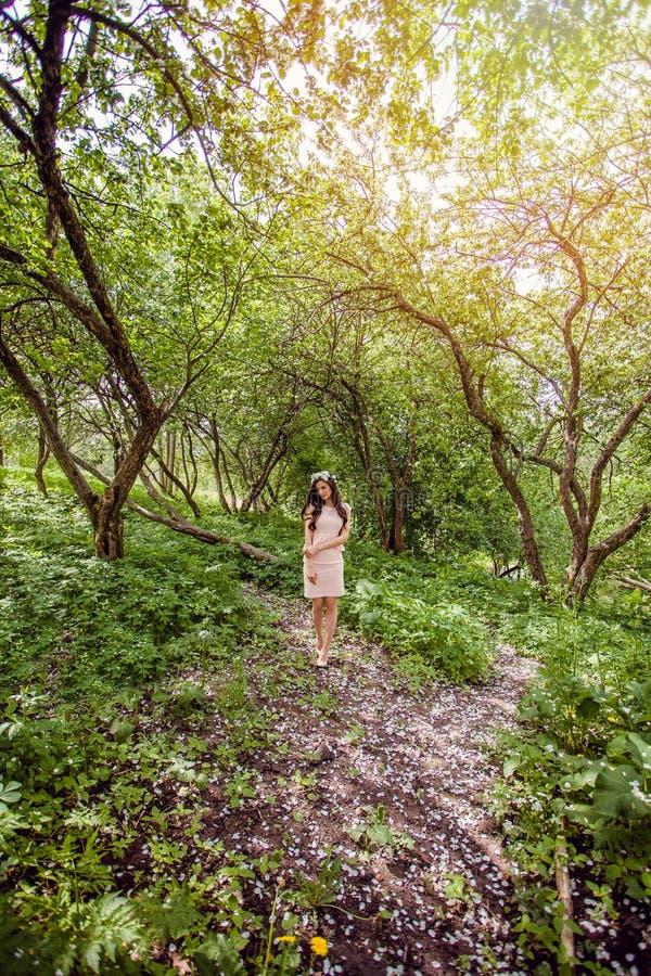 Красивейшая молодая женщина outdoors Брюнет девушки красоты в венке белых цветков в волосах идя весной сад цветения стоковая фотография rf