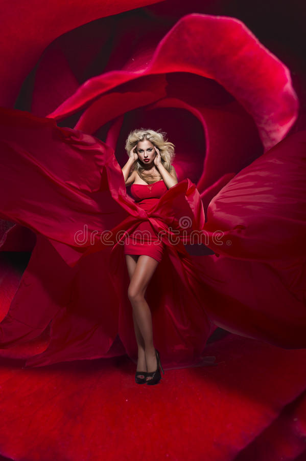 Красивейшая молодая дама в красных стойках платья на цветке подняла стоковые фотографии rf