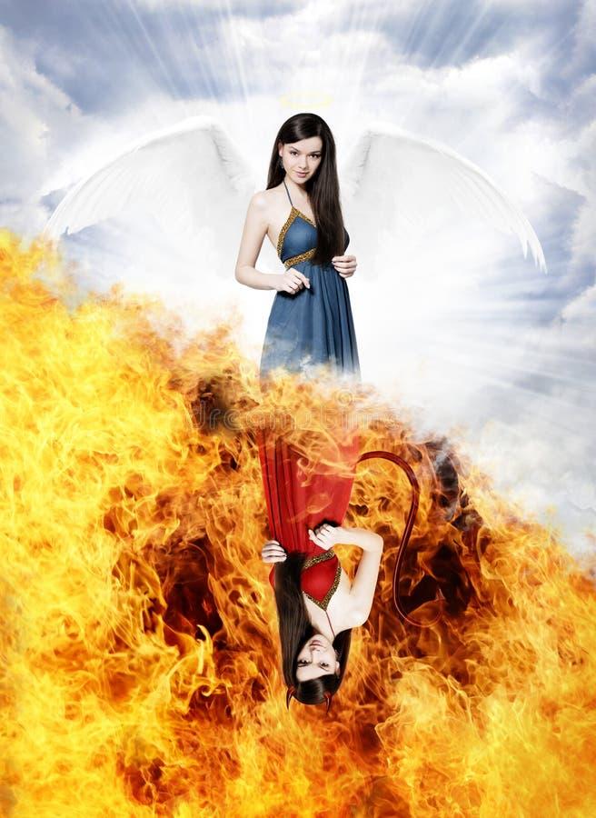 Шикарный ангел и сексуальный дьявол стоковая фотография rf