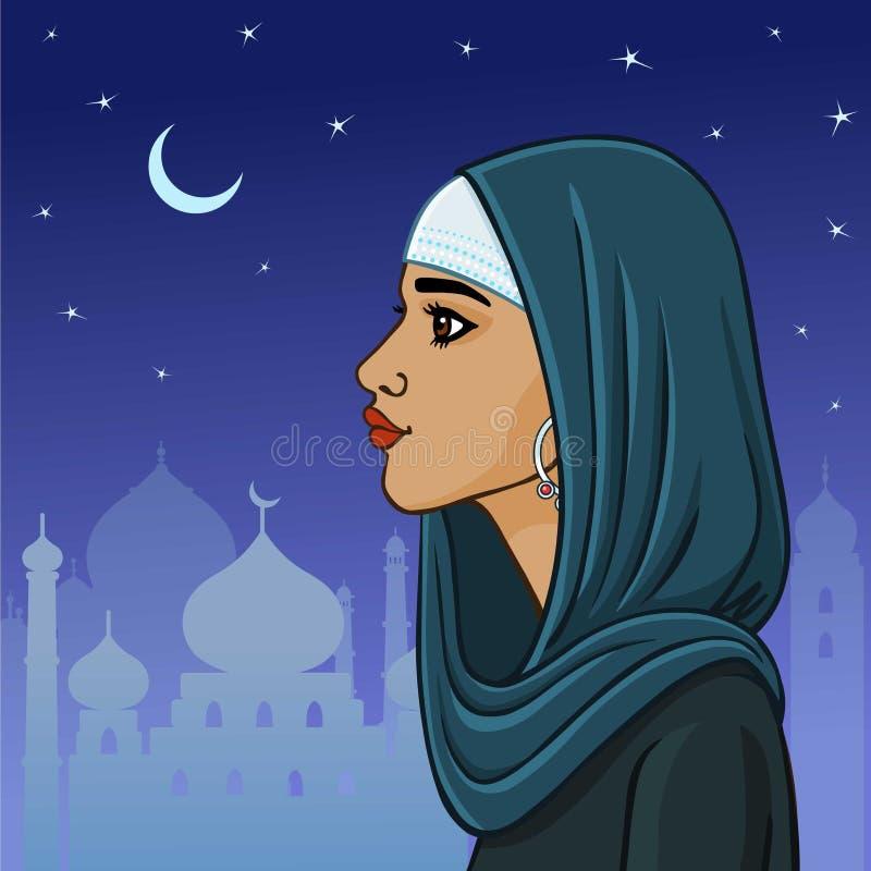 красивейшая мусульманская женщина иллюстрация штока